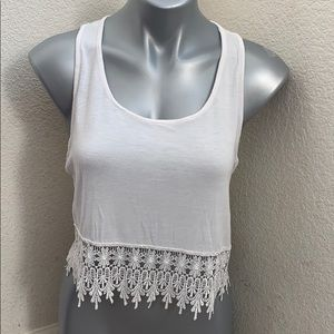 Poetry white crop tank top size L